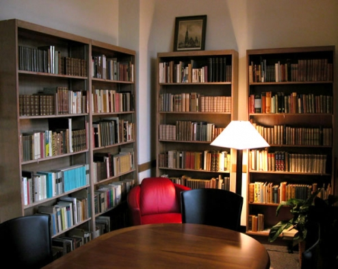 Shelves of books in the Lowenfeld Collection
